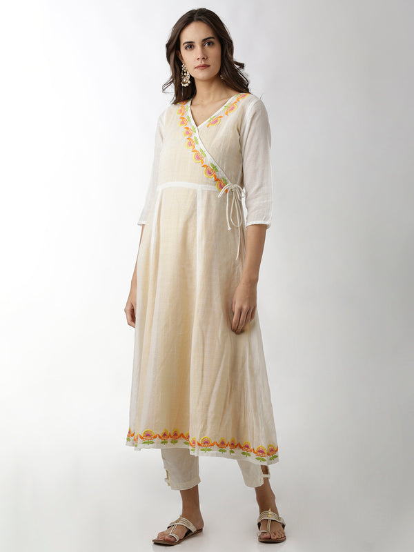 Two-Layered White & Yellow Kurta
