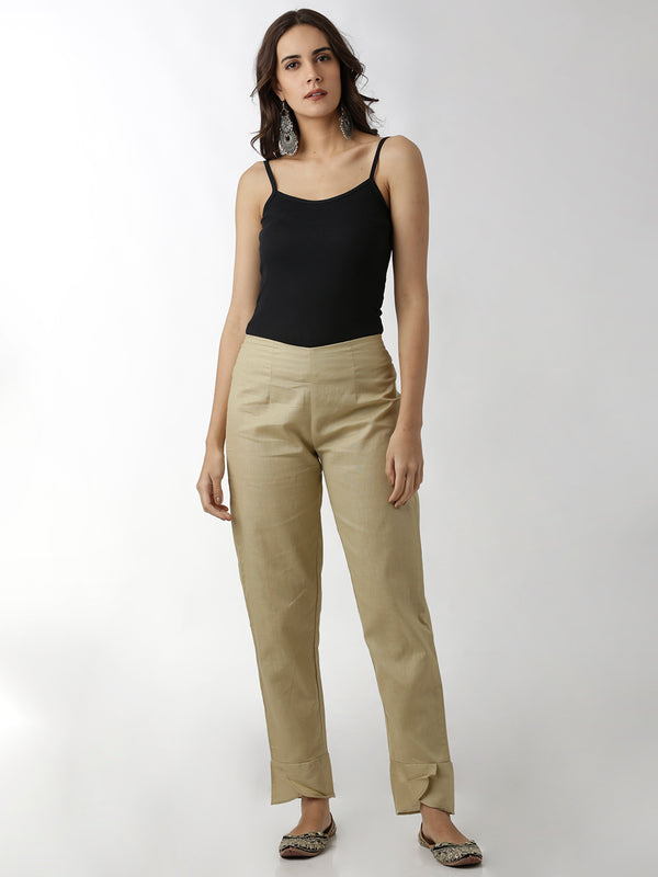 Beige Overlap Narrow Pants