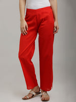 Breya White Side Lips Parallel Red Pants