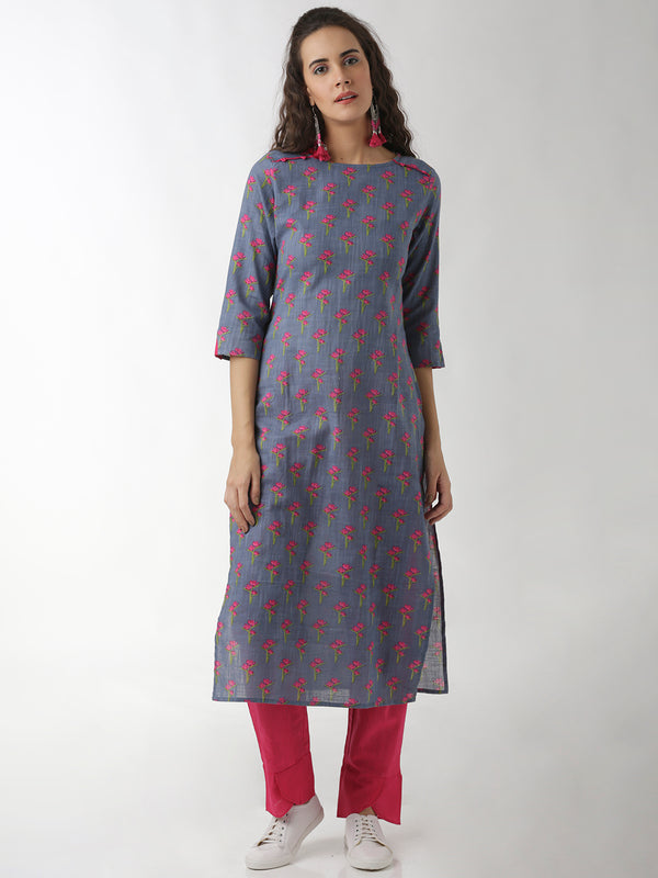 Straight Grey Printed Statement Sleeve Kurta