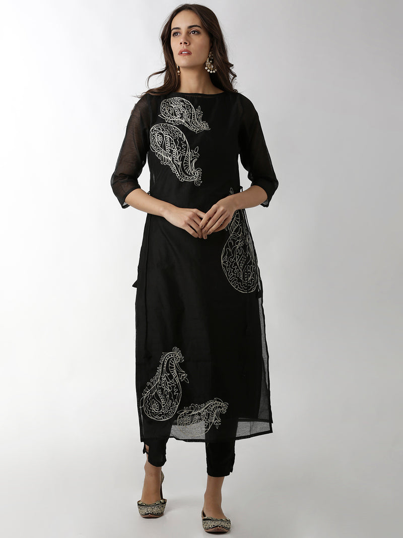 Two Layered Black Embroidered A-Line Kurta