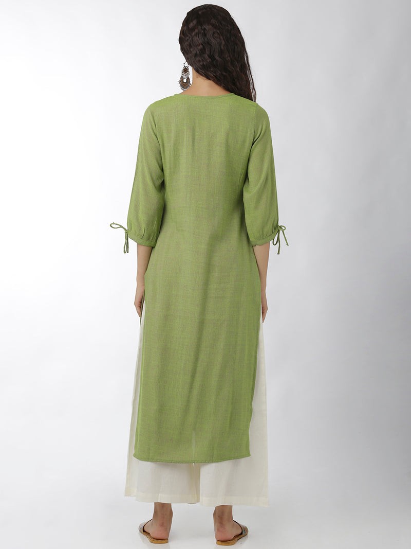 Solid Green Straight Kurta