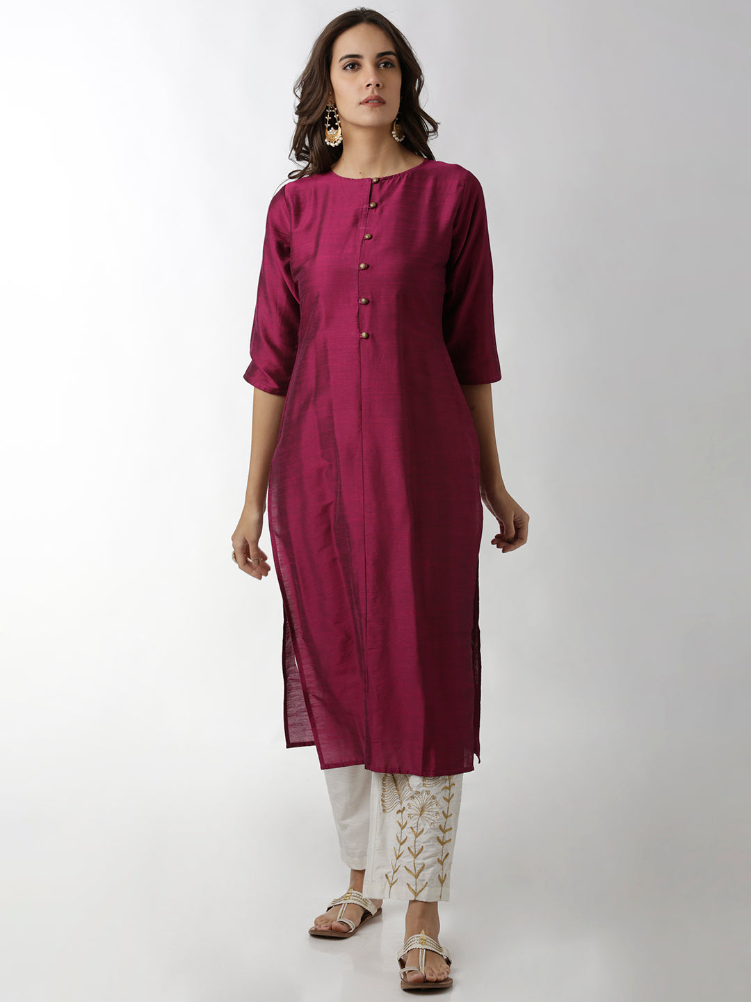 Breya Round Neck Plain Burgundy Straight Kurta