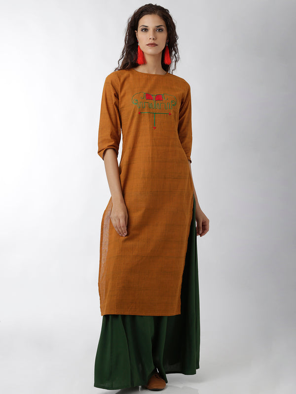 Embroidered Straight Orange Kurta