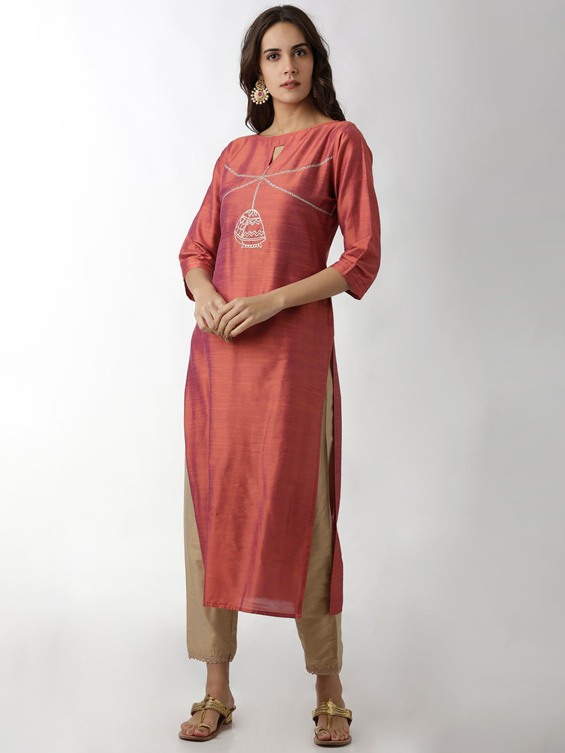 Orange Embroidered Straight Kurta