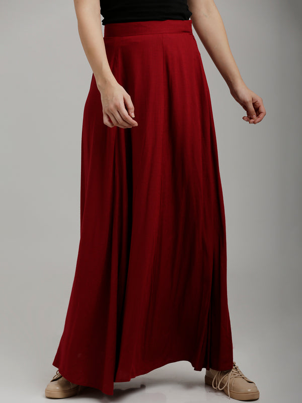 Solid Maroon Full Length Flared Skirt