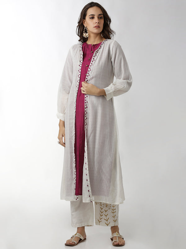 Embroidered Border Long Shrug