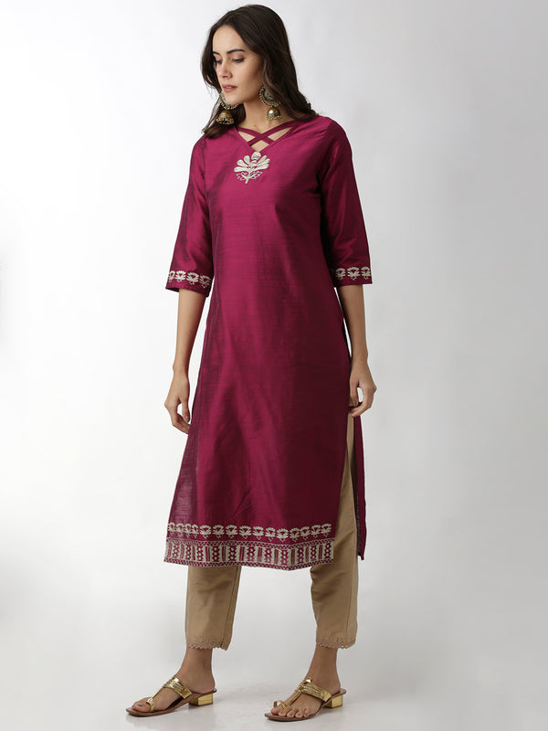 Embroidered Burgundy Straight Kurta