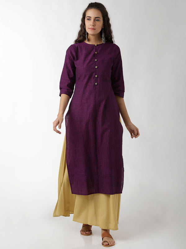 Simple Round Neck Purple Straight Kurta