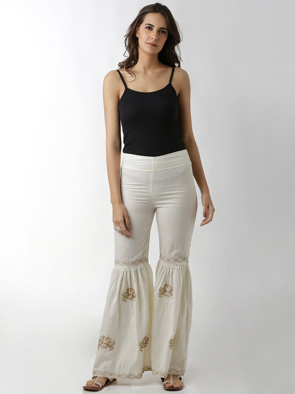Sharara Off White Embroidered Pants