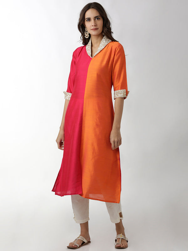 Shawl Collar Multicolor Kurta