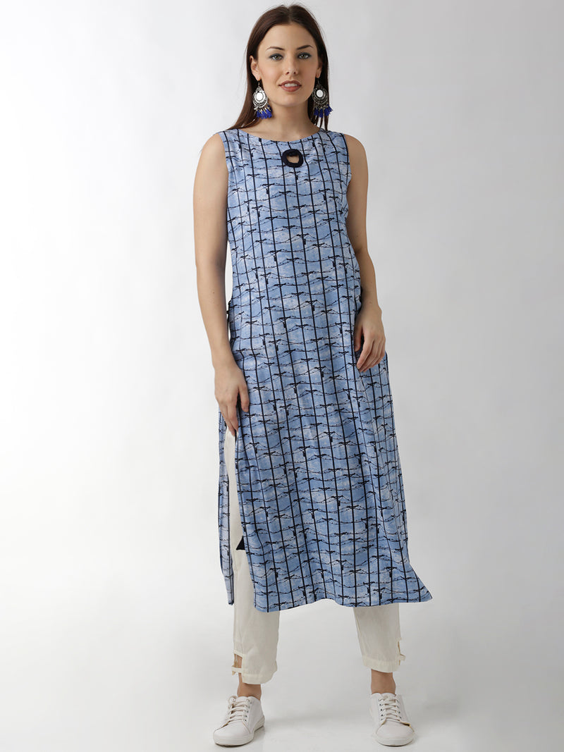 Navy Blue Printed Straight Kurta