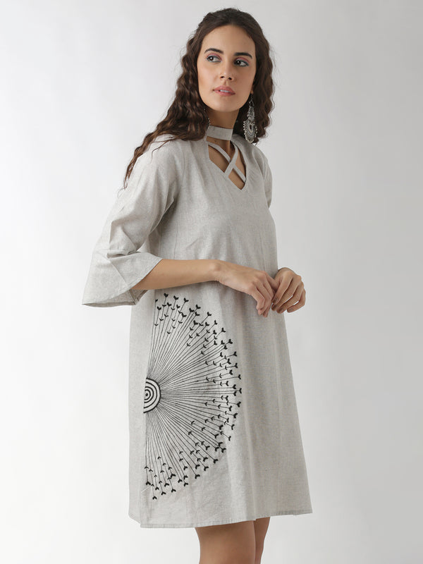 Embroidered Grey A-Line Dress