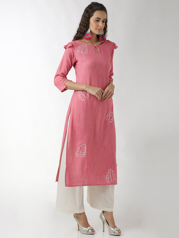 Embroidered Pink Straight Kurta