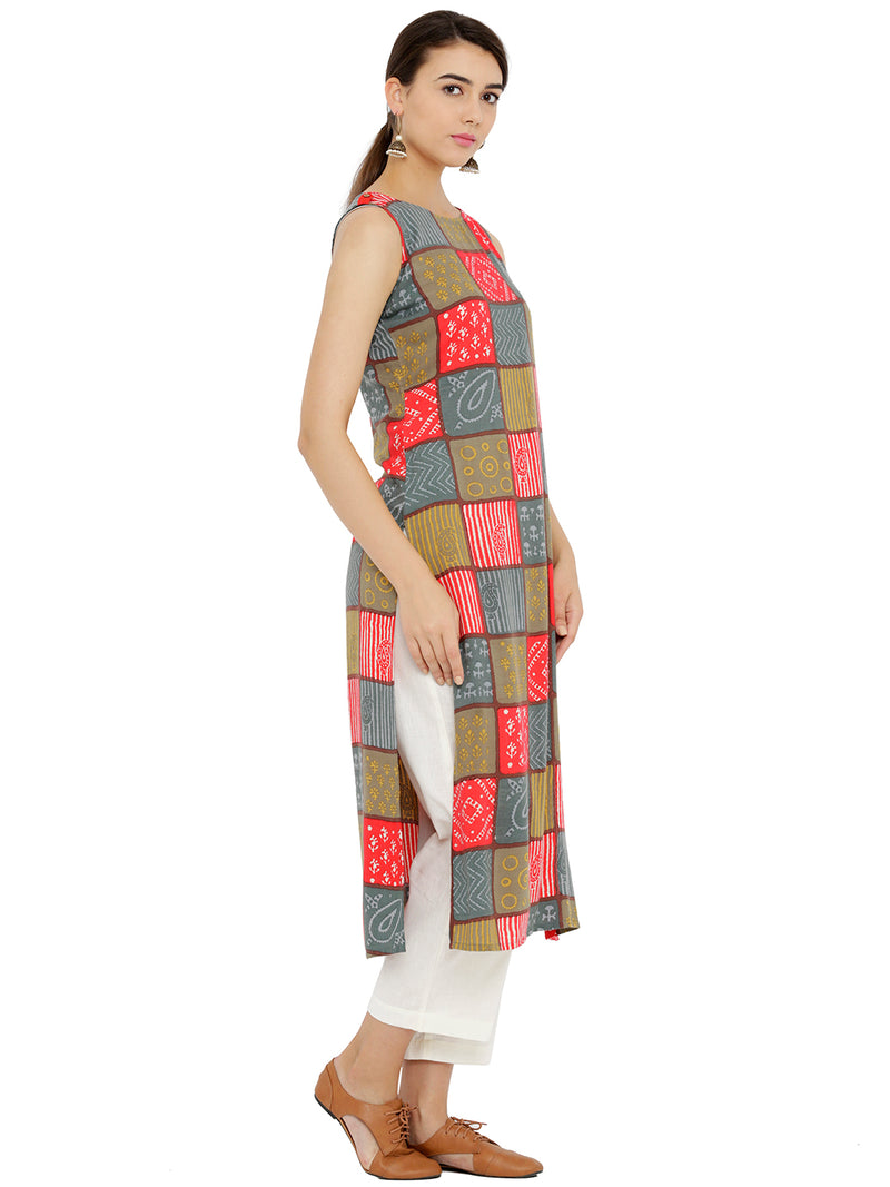 Multicolor Checkered Sleveless Kurta