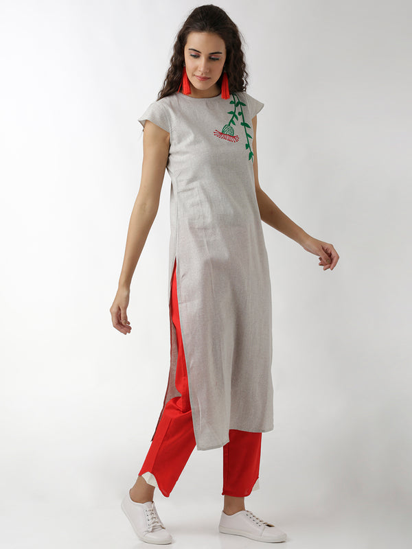 Embroidered Straight Grey Kurta