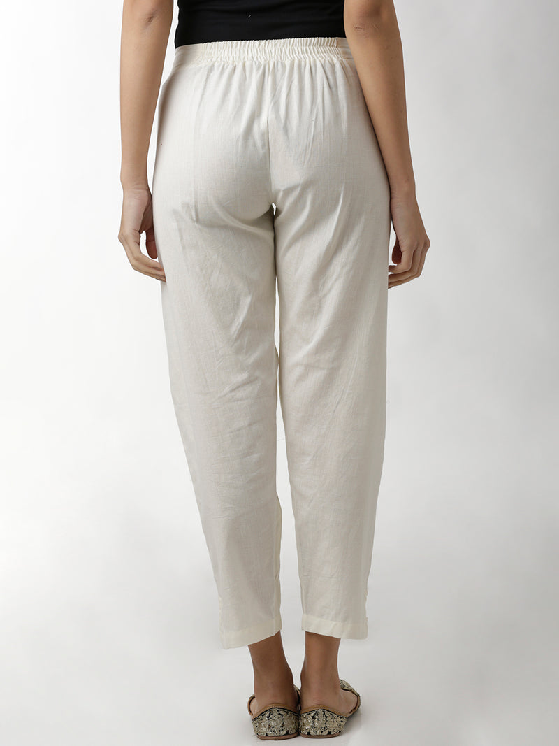 Cream Hem Loop Full Length Narrow Trouser