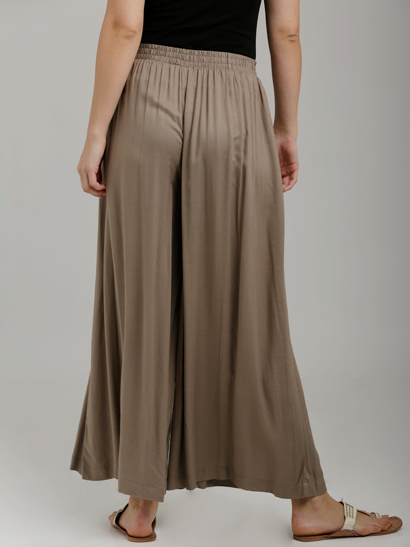 Solid Grey Full Length Palazzo