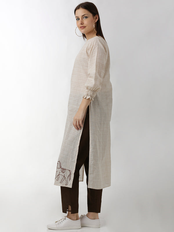 Embroidered Cream Straight Kurta