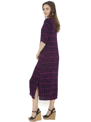 Breya Pink Geometric Print Maxi Dress