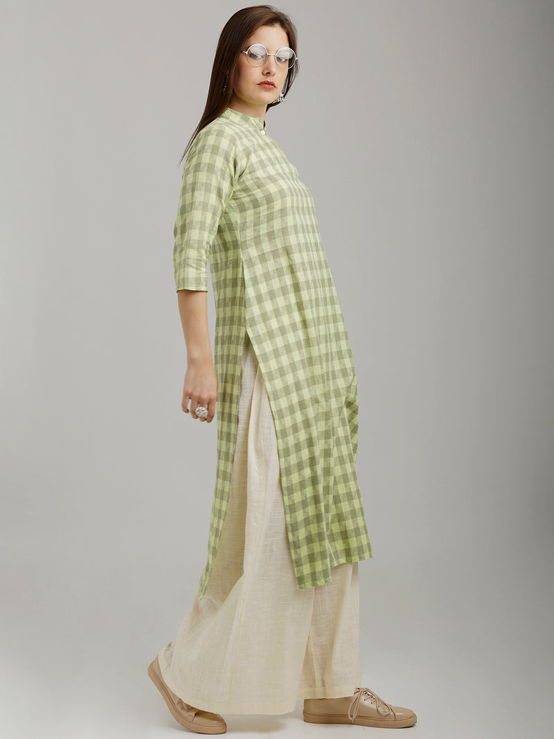 Lime Green & Grey Checkered Kurta