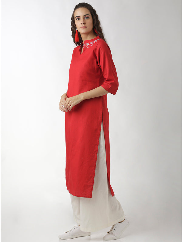 Embroidered Straight Red Kurta