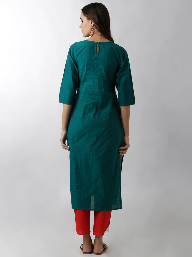 Embroidered Green Straight Kurta