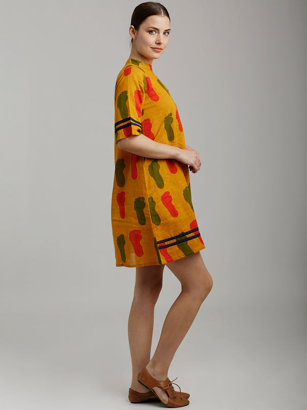 Indie Printed Yellow Tunic