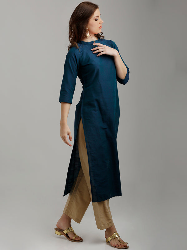 Silk Teal Blue Kurta