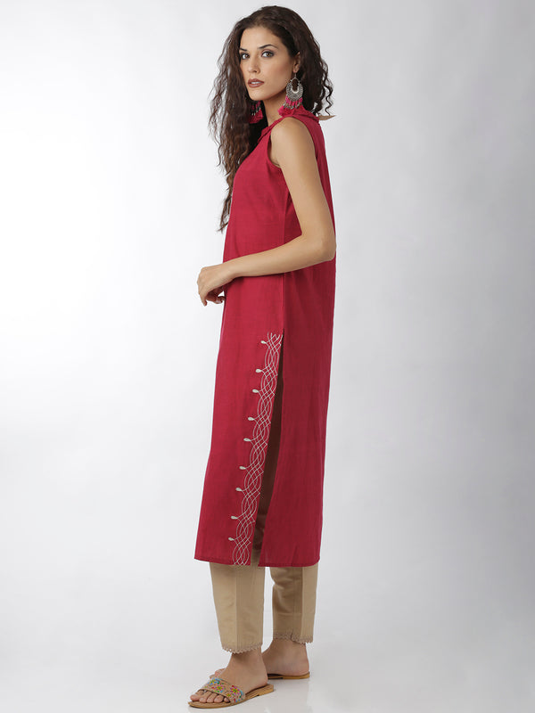 Embroidered Straight Magenta Kurta