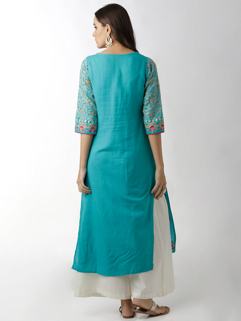 Light Blue Embroidered Kurta