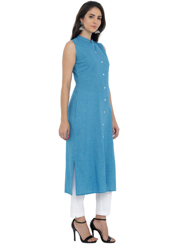 Breya Blue Solid Dress
