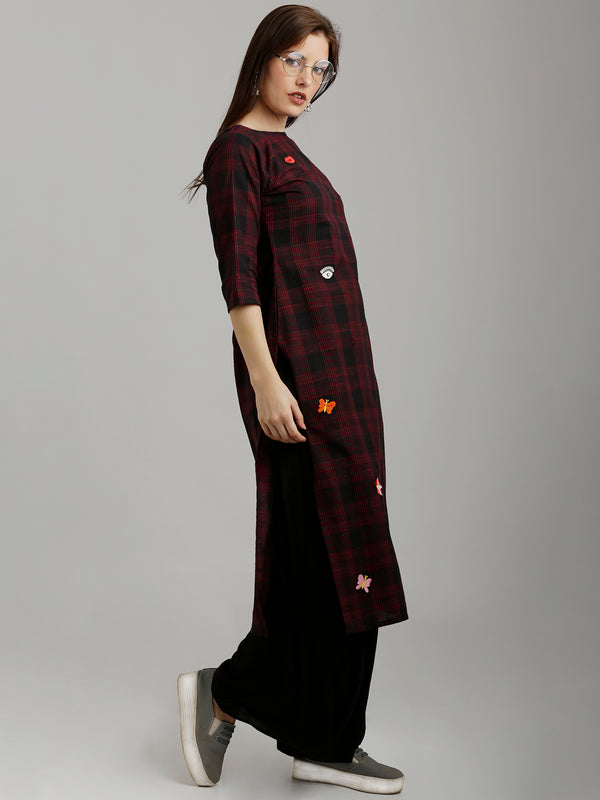 Black-Red Checkered Embroidered Kurta