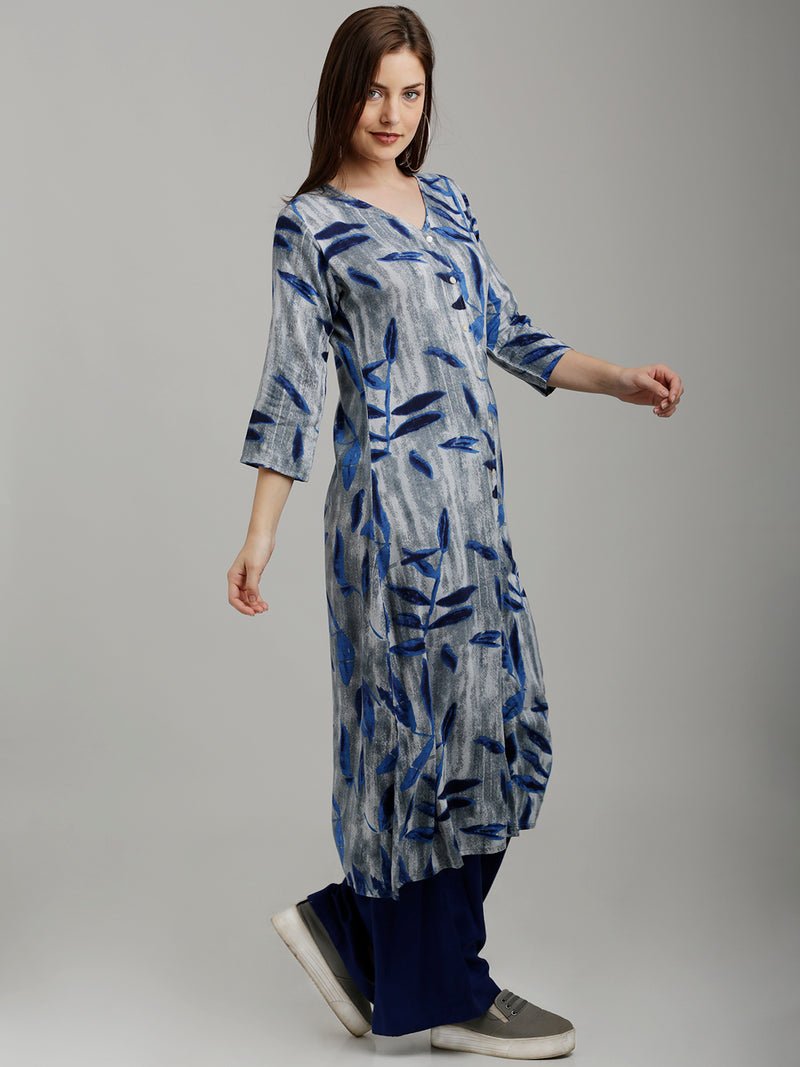 Blue & Grey Leaves Printed Kurta