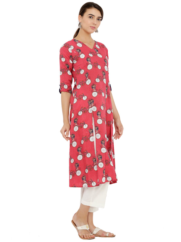 Red Printed Kurta