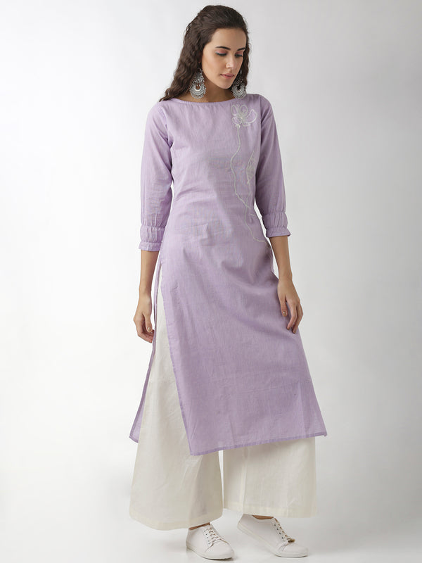 Lavender Embroidered Straight Kurta