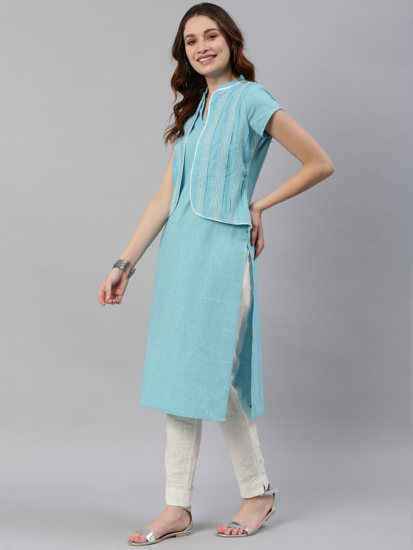 Blue Embroidered Kurta