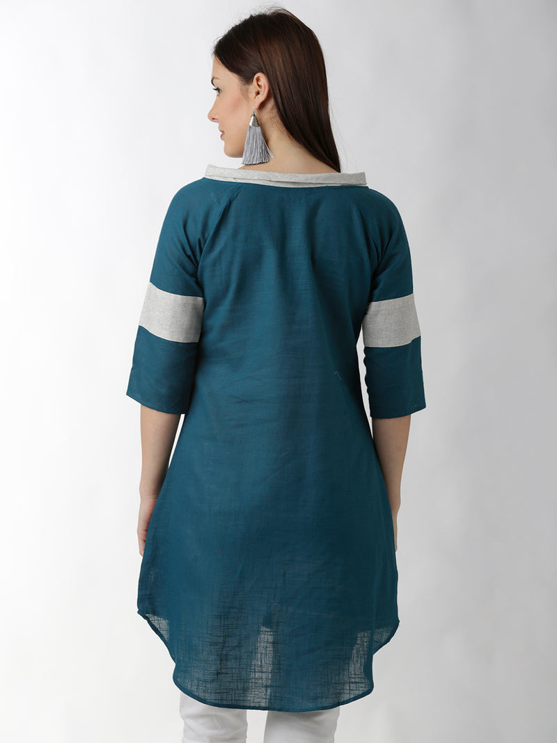 Teal Raglan Sleeved A-Line Dress