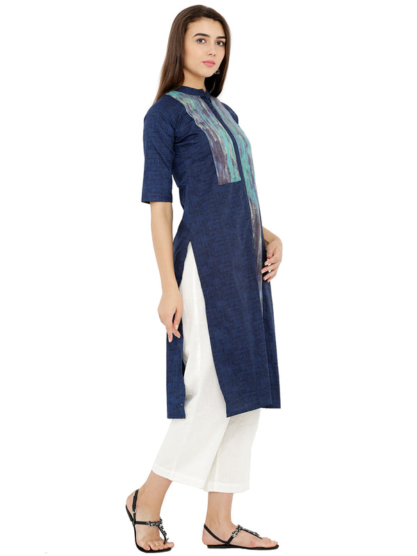 Dark Blue Colour Block Kurta