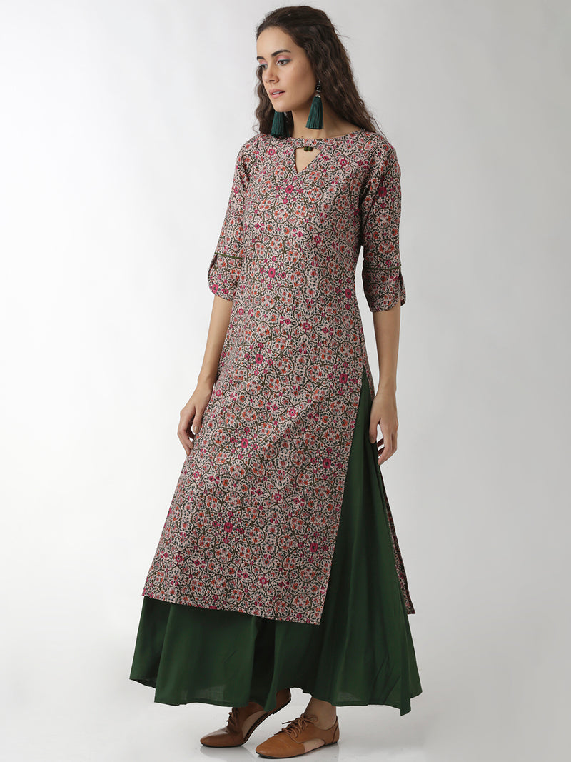 Statement Sleeves And Neck Floral Printed Straight Kurta