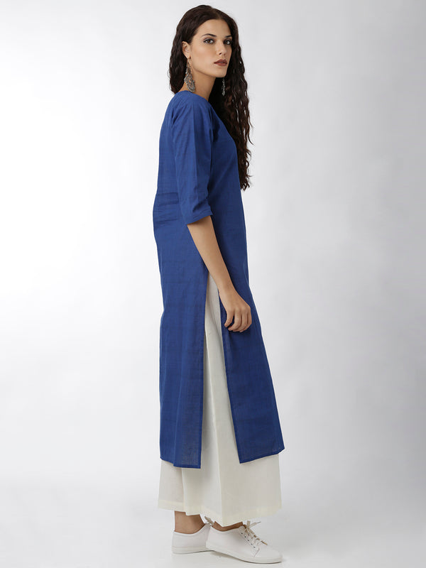 Simple Blue Straight Kurta