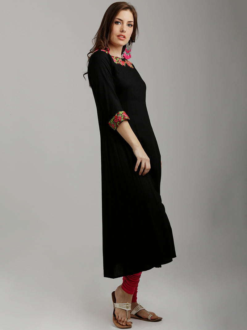 Neck And Cuff Embroidered A-Line Black Kurta