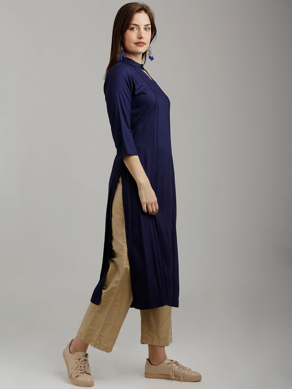 Solid Blue With Pintucks Kurta