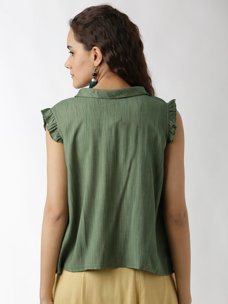 Embroidered Green Top