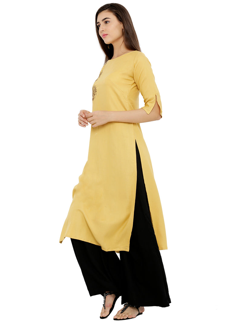 Embroided Straight Cut-Sleeves Kurta