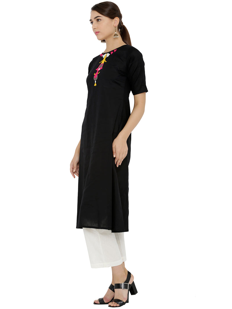 Embroided Black Flared Kurta