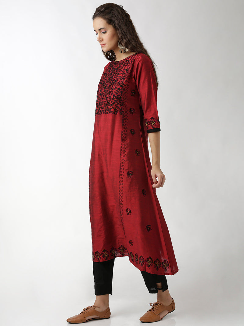 Boat Neck Red Embroidered Kurta