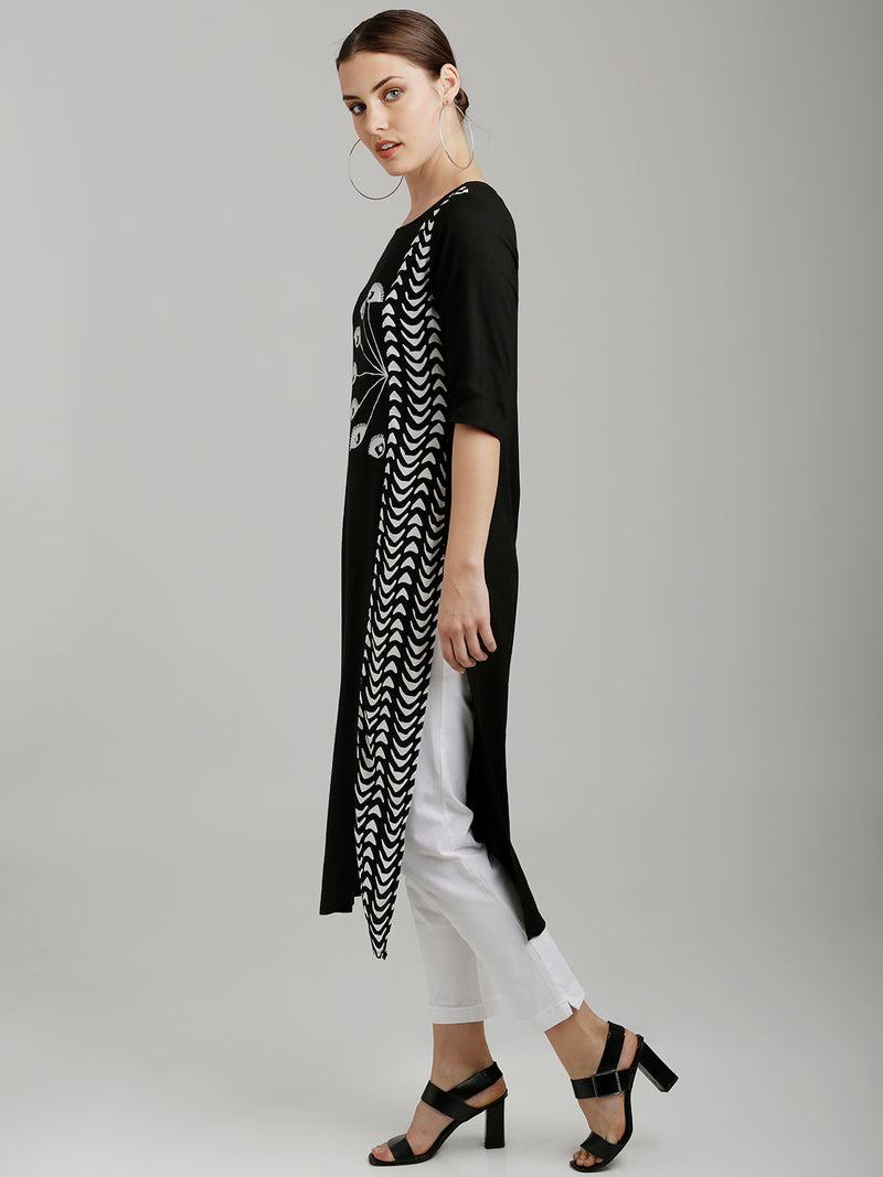 Black Printed Eye Embroidered Kurta