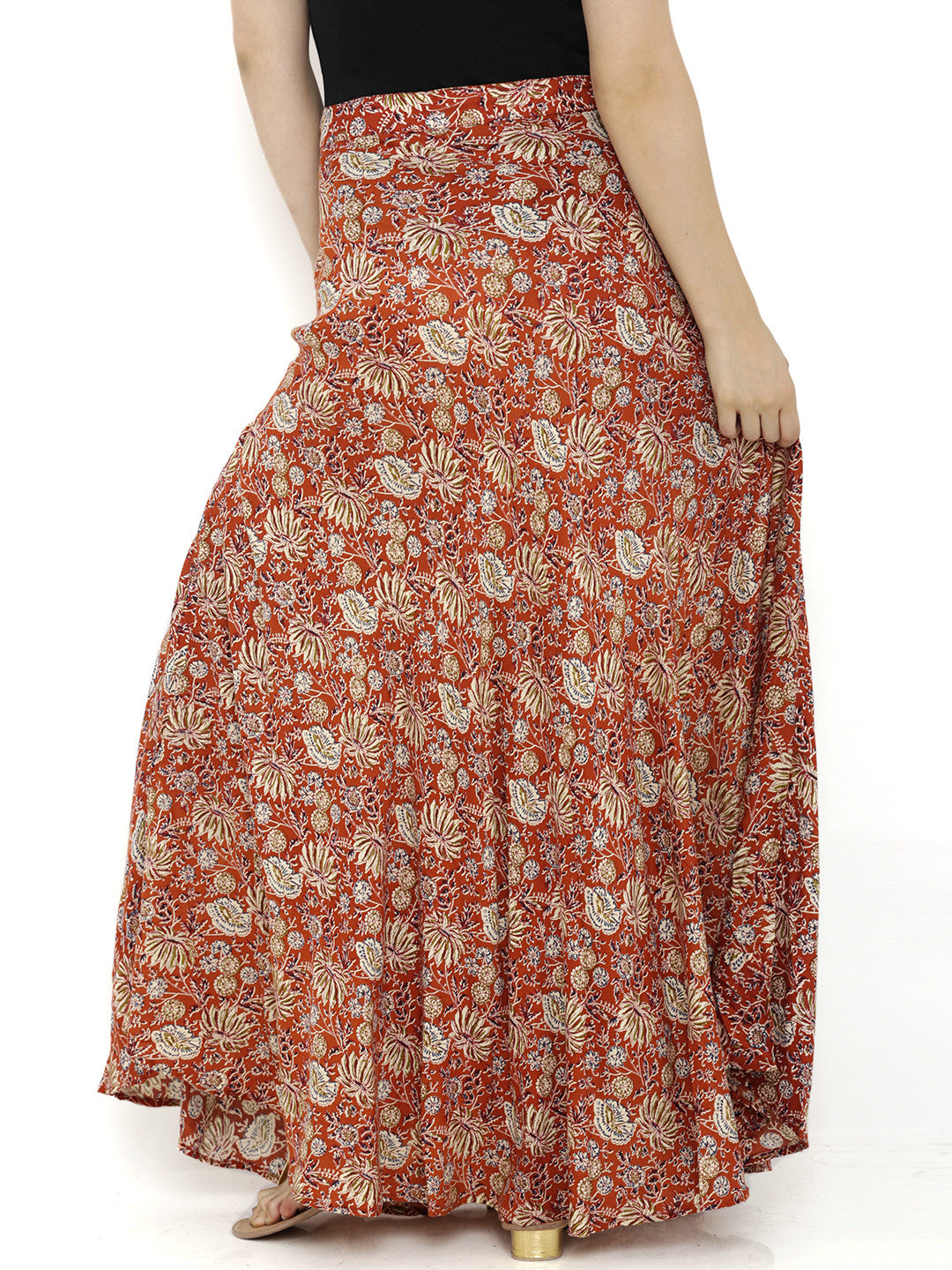 Breya Orange Multicolor Print Skirt