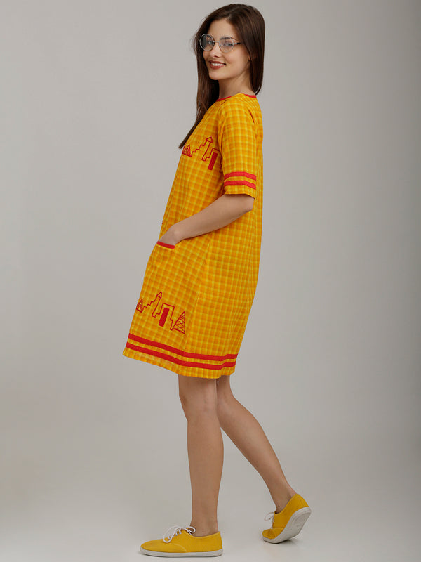 Yellow Checks Embroidered Tunic